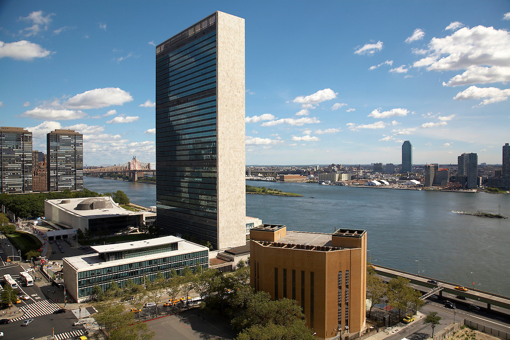 View of the United Nations and East River from 5 Tudor City, 17th floor