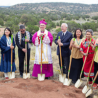 Pernell Halona, left, Navajo Nation Council delegate; Gertrude Lee, SWIF Board of Directors; the Rev. Henry Sands, director of the National Black and Indian Mission Office and member of the Ojibway, Ottawa and Potawatomi Tribes; Bishop James Wall, Bishop of the Diocese of Gallup; Carl Anderson, Supreme Knight of the Knights of Columbus; Victoria Begay, SWIF Board of Directors;Florence Sousea of Laguna Pueblo;Lily Etsitty, president of the Tohatchi Kateri Circle; Kathy Bowman, president of the Fort Defiance Kateri Circle; Angela Riley, from Laguna Pueblo, all participated in the groundbreaking for the St. Kateri Shrine and Rosary Walk.