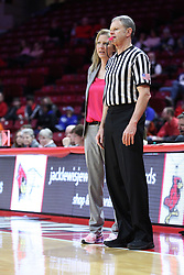 NORMAL, IL - February 10: Charlie Hust and Kristen Gillespie during a college women's basketball Play4Kay game between the ISU Redbirds and the Indiana State Sycamores on February 10 2019 at Redbird Arena in Normal, IL. (Photo by Alan Look)