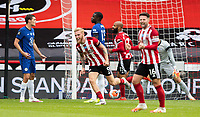 Sheffield United's Oliver McBurnie celebrates scoring his side's second goal <br /> <br /> Photographer Alex Dodd/CameraSport<br /> <br /> The Premier League - Sheffield United v Chelsea - Saturday 11th July 2020 - Bramall Lane - Sheffield<br /> <br /> World Copyright © 2020 CameraSport. All rights reserved. 43 Linden Ave. Countesthorpe. Leicester. England. LE8 5PG - Tel: +44 (0) 116 277 4147 - admin@camerasport.com - www.camerasport.com