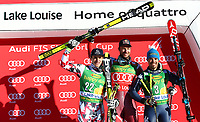 Alpint<br /> FIS World Cup<br /> Foto: Gepa/Digitalsport<br /> NORWAY ONLY<br /> <br /> LAKE LOUISE,CANADA,29.NOV.15 - ALPINE SKIING - FIS World Cup, Super G, men, award ceremony. Image shows Matthias Mayer (AUT), Aksel Lund Svindal (NOR) and Peter Fill (ITA).
