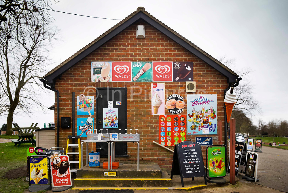 Snack and Ice Cream shop set out for social distancing during the coronavirus pandemic on 7th March, 2021 in Maldon, Essex, United Kingdom.