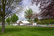 Henley on Thames. United Kingdom.   2018 Henley Royal Regatta, Henley Reach. <br />   <br /> Course Construction.  General View, Frame Tents being erected. in the Stewards Enclosure.<br /> <br /> Wednesday  25/04/2018<br /> <br /> [Mandatory Credit: Peter SPURRIER:Intersport Images]<br /> <br /> LEICA CAMERA AG  LEICA Q (Typ 116)  f5.6  1/800sec  35mm  42.9MB