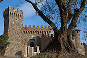 Castello di Amorosa Winery in Calistoga, Napa Valley, California. Dario Sattui's winery built to resemble a Tuscan castle.