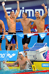 15.08.2010, Budapest, Ungarn, HUN, Schwimmeuropameisterschaften, Budapest 2010, im Bild 4x200m medley relay: France gold medal.Swimming European Championships Budapest 2010 - Campionati Europei di Nuoto Budapest 2010.Swimming finals - Finali di nuoto.EXPA Pictures © 2010, PhotoCredit: EXPA/ InsideFoto/ Giorgio Perottino +++++ ATTENTION - FOR AUSTRIA AND SLOVENIA CLIENT ONLY +++++.