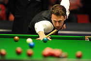 Judd Trump of England during his match v Jamie Burnett of Scotland . Bet Victor Welsh Open snooker at the Newport centre in Newport, South Wales on Monday 24th Feb 2014.<br /> pic by Andrew Orchard, Andrew Orchard sports photography.