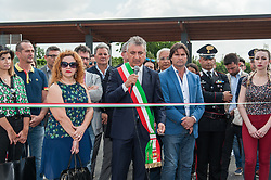 June 16, 2017 - Qualiano, Campania, Italy - The Ecological Island located on the External Circumvent. The inaugural ceremony is held with Don Francesco Martino, who has imparted the blessing of the important structure throughout the community of Qualiano. (Credit Image: © Sonia Bardolone/Pacific Press via ZUMA Wire)