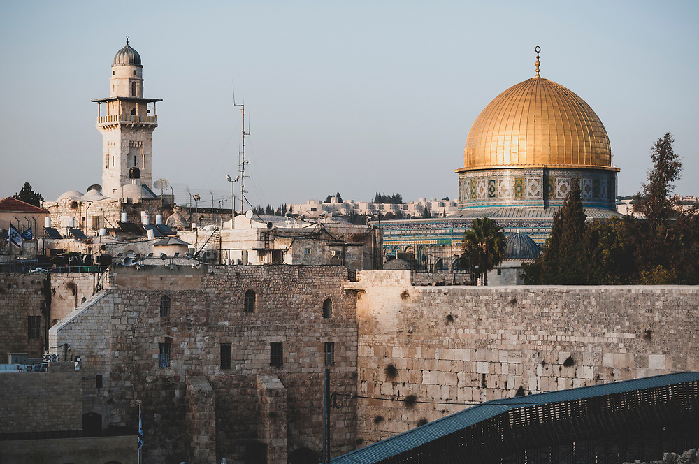 Dome of the Rock and Western Wall in Jerusalem's Old City