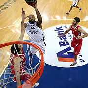 Anadolu Efes's Alfred Jamon Lucas (L) during their Turkish Airlines Euroleague Basketball playoffs Game 3 Anadolu Efes between Olympiacos at Abdi ipekci Arena in Istanbul, Turkey, Wednesday, April 17, 2013. Photo by Aykut AKICI/TURKPIX