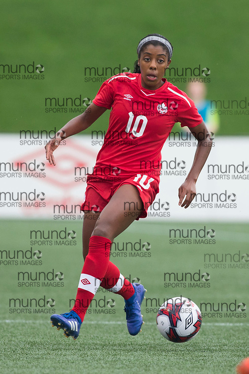 OTTAWA, ON - September 2: Ashley Lawrence (10 -- M) of Canada in an international FIFA women's friendly soccer match between Canada and Brazil at TD Place Stadium in Ottawa, Canada, September 2, 2018. Canada defeated Brazil 1-0. (Photo by Sean Burges/Mundo Sport Images)