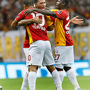 Galatasaray's Felipe MELO (L) celebrate his goal with team mate during their Turkish Super League soccer match Galatasaray between Samsunspor at the Turk Telekom Arena at Seyrantepe in Istanbul Turkey on Sunday, 18 September 2011. Photo by TURKPIX