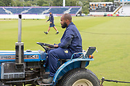 Groundsmen roping off the rain during the Specsavers County Champ Div 2 match between Durham County Cricket Club and Leicestershire County Cricket Club at the Emirates Durham ICG Ground, Chester-le-Street, United Kingdom on 19 August 2019.