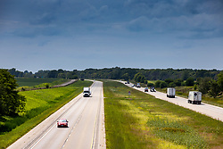 View looking south at Interstate 55 from an overpass near Funks Grove Illinois