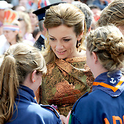 Koningsdag 2014 in Amstelveen, het vieren van de verjaardag van de koning. / Kingsday 2014 in Amstelveen, celebrating the birthday of the King. <br /> <br /> <br /> Op de foto / On the photo:  Prins Floris and Prinses Aimee / Prince Floris and Princess Aimée