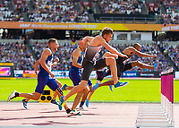 Athletics - 2017 IAAF London World Athletics Championships - Day Nine, Morning Session<br /> <br /> Mens Decathlon - 110m Hurdles<br /> <br /> Rico Freimuth (Germany) rises to clear the hurdle at the London Stadium<br /> <br /> COLORSPORT/DANIEL BEARHAM
