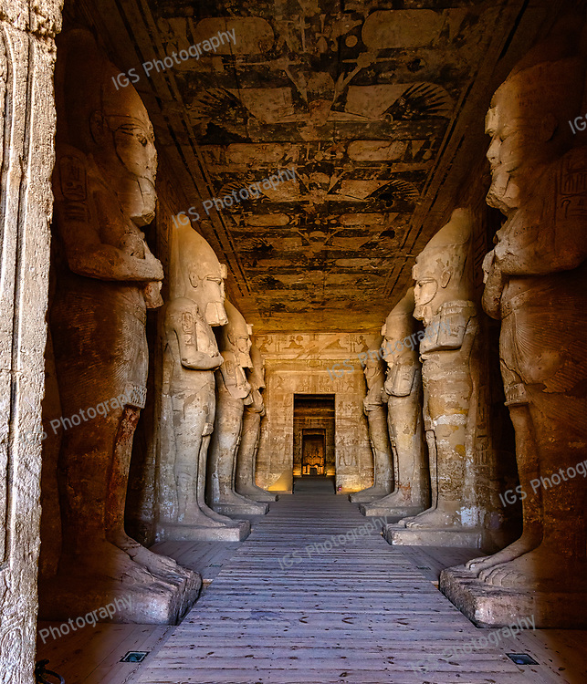 The hypostyle hall of the Great Temple at Abu Simbel with Osiris pillars