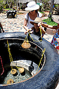 Woman assisting two children (7 years old, 10 years old) to lower bamboo baskets containing eggs into hot-spring water, to cook the eggs. Binh Chau hot springs, Vietnam
