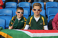 Young South African fans during the Rugby World Cup Pool B match between South Africa and Japan at the Community Stadium, Brighton and Hove, England on 19 September 2015. Photo by Phil Duncan.