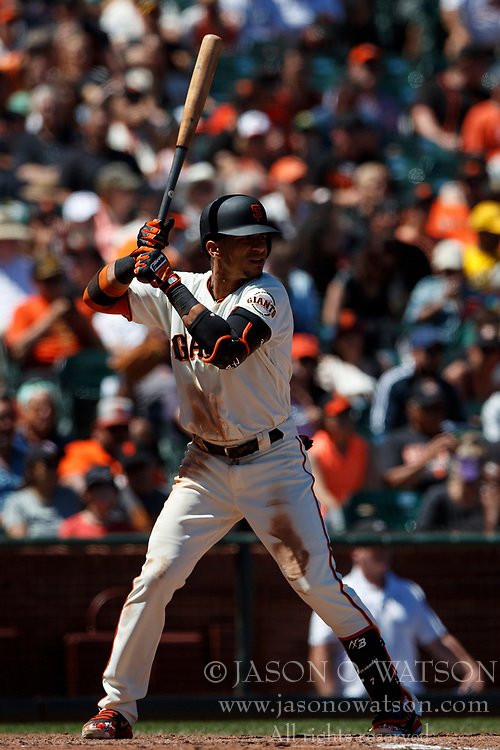 SAN FRANCISCO, CA - JULY 15: Gorkys Hernandez #7 of the San Francisco Giants at bat against the Oakland Athletics during the seventh inning at AT&T Park on July 15, 2018 in San Francisco, California. The Oakland Athletics defeated the San Francisco Giants 6-2. (Photo by Jason O. Watson/Getty Images) *** Local Caption *** Gorkys Hernandez