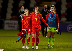 NEWPORT, WALES - Thursday, October 22, 2020: Wales' Nadia Lawrence (L) and Georgia Walters after the UEFA Women's Euro 2022 England Qualifying Round Group C match between Wales Women and Faroe Islands Women at Rodney Parade. Wales won 4-0. (Pic by David Rawcliffe/Propaganda)
