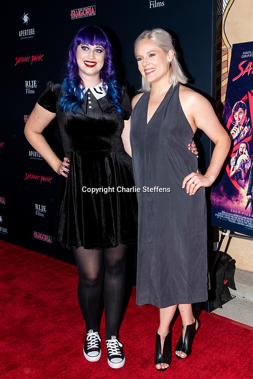 CHELSEA STARDUST, left, and AMANDA PRESMYK attend the Los Angeles premiere of Satanic Panic at the Egyptian Theatre in Los Angeles, California.