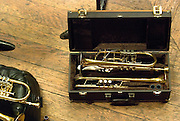 A brass trumpet in a carrying case