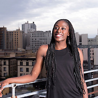 Nneka Ogwumike poses on a rooftop, in downtown Los Angeles, California, USA.