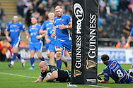 Brendon Leonard of the Ospreys scores a try in the 2nd half.  Guinness Pro12 rugby match, Ospreys v Newport Gwent Dragons at the Liberty Stadium in Swansea, South Wales on 29th October 2016.<br /> pic by Andrew Orchard, Andrew Orchard sports photography.