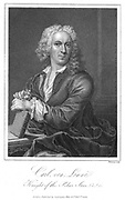 Linnaeus (Carl von Linne - 1707-1778). Swedish naturalist, shown holding a sprig of Linnea borealis. Engraving