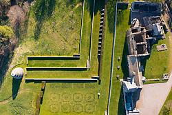 Aerial view from drone of Aberdour Castle and garden  in Aberdour, Fife , Scotland, UK