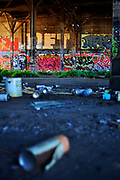 500px Photo ID: 4400332 - empty paint cans in front of graffiti in abandoned trainhouse, san francisco, ca