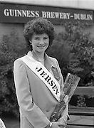 Roses of Tralee at Guinness Brewery..1986.20.08.1986..08.20.1986..20th August 1986..As part of the 50th running of the Rose Of Tralee Festival the thirty Rose contestants were invited to The Guinness Brewery,St James's Gate,Dublin. At the reception in their honour, Mr Pat Healy,Sales Director,Guinness Group Sales,welcomed the roses at the Guinness Reception Centre..Extra: Ms Noreen Cassidy,representing Leeds,went on to win the title of 'Rose Of Tralee'...The Jersey Rose poses for pictures at the Guinness reception.