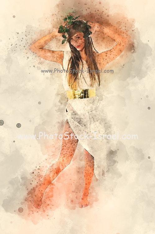 Digitally enhanced image of a Greek goddess in white toga