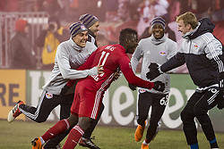 March 10, 2018 - Harrison, New Jersey, United States - Carlos Rivas (11) of Red Bulls celebrates scoring goal during regular MLS game against Portland Timbers at Red Bull Arena Red Bulls won 4 - 0  (Credit Image: © Lev Radin/Pacific Press via ZUMA Wire)