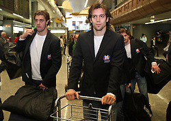 Anze Kopitar and David Rodman at departure of Slovenian national team to Hockey IIHF WC 2008 in Halifax, Canada,  on April 27, 2008 in Airport Joze Pucnik, Brnik, Slovenia.  (Photo by Vid Ponikvar / Sportal Images)