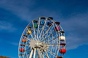 Ferris wheel in Parc d'atraccions Tibidabo, Barcelona, closed in February 2021 due to Covid-19, Coronavirus restrictions.