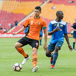 BRISBANE, AUSTRALIA - MARCH 25: Adam Sawyer controls the ball during the round 5 NPL Queensland match between the Brisbane Roar and SWQ Thunder at Suncorp Stadium on March 25, 2017 in Brisbane, Australia. (Photo by Patrick Kearney/Brisbane Roar)