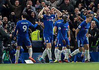 Football - 2017 / 2018 Premier League - Chelsea vs Manchester United<br /> <br /> Alvaro Morata (Chelsea FC)  celebrates in front of the tv camera whilst Gary Cahill (Chelsea FC) screams in delight at taking the lead  at Stamford Bridge <br /> <br /> COLORSPORT/DANIEL BEARHAM