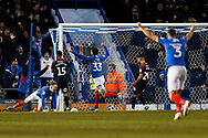 Portsmouth celebrate Ellis Harrison's goal that made it 2-1 during the EFL Sky Bet League 1 match between Portsmouth and Peterborough United at Fratton Park, Portsmouth, England on 7 December 2019.