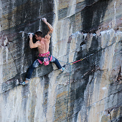 Sam Tucker leading one of the hardest trad routes in Canada, The Path 5.14R, Back of the Lake, Lake Louise, Alberta, Canada