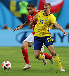 SAINT PETERSBURG, July 3, 2018  Ricardo Rodriguez (L) of Switzerland vies with Viktor Claesson of Sweden during the 2018 FIFA World Cup round of 16 match between Switzerland and Sweden in Saint Petersburg, Russia, July 3, 2018. (Credit Image: © Yang Lei/Xinhua via ZUMA Wire)