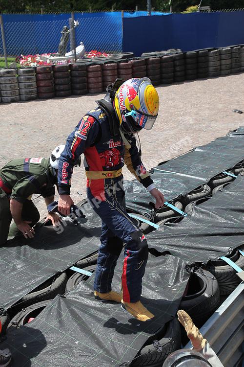 Sebastien Buemi (Toro Rosso-Ferrari) walks away after his crash in the 2009 Monaco Grand Prix. Photo: Grand Prix Photo