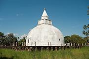 Sri Lanka. Yatala Dagoba or stupa near Tissamaharama. The Yatala stupa or dagoba, was built 2300 years ago with a surrounding wall of sculpted elephant heads surrounded by a moat.