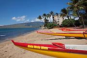 Outrigger canoe, Maipoinaoeiau Beach Park, Kihei, Maui, Hawaii