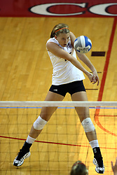 22 September 2007: Katelyn Panzau gets set to pass a serve from shallow in the back row.  In a nip and tuck match, the Missouri State Bears beat the Illinois State Redbirds 3 games to one at Redbird Arena on the campus of Illinois State University in Normal Illinois.