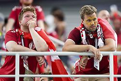 July 1, 2018 - Nizhny Novgorod, Russia - The Danish fans dejected during the 2018 FIFA World Cup Round of 16 match between Croatia and Denmark at Nizhny Novgorod Stadium in Nizhny Novgorod, Russia on July 1, 2018  (Credit Image: © Andrew Surma/NurPhoto via ZUMA Press)