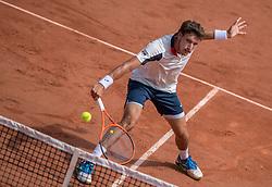 June 2, 2017 - Paris, France - Pablo Carreno Busta of Spain returns the ball to Grigor Dimitrov of Bulgaria during the third round at Roland Garros Grand Slam Tournament - Day 6 on June 2, 2017 in Paris, France. (Credit Image: © Robert Szaniszlo/NurPhoto via ZUMA Press)