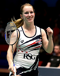 Jess Hopton of Bristol Jets smiles during the women's doubles match - Photo mandatory by-line: Robbie Stephenson/JMP - 07/11/2016 - BADMINTON - University of Derby - Derby, England - Team Derby v Bristol Jets - AJ Bell National Badminton League