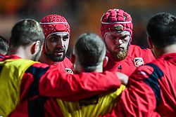 Dragons' Cory Hill during the pre match warm up<br /> <br /> Photographer Craig Thomas/Replay Images<br /> <br /> Guinness PRO14 Round 13 - Scarlets v Dragons - Friday 5th January 2018 - Parc Y Scarlets - Llanelli<br /> <br /> World Copyright © Replay Images . All rights reserved. info@replayimages.co.uk - http://replayimages.co.uk
