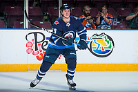 PENTICTON, CANADA - SEPTEMBER 9: Tyler Boland #89 of Winnipeg Jets warms up against the Edmonton Oilers on September 9, 2017 at the South Okanagan Event Centre in Penticton, British Columbia, Canada.  (Photo by Marissa Baecker/Shoot the Breeze)  *** Local Caption ***